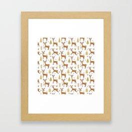 Pastel green brown cute Christmas deer festive pattern Framed Art Print