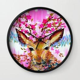 Deer in Fresh Pink Wall Clock