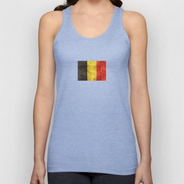 Vintage Aged and Scratched Belgian Flag Unisex Tank Top