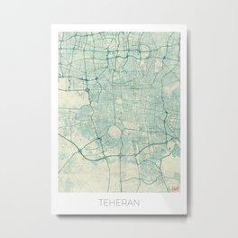 Teheran Map Blue Vintage Metal Print