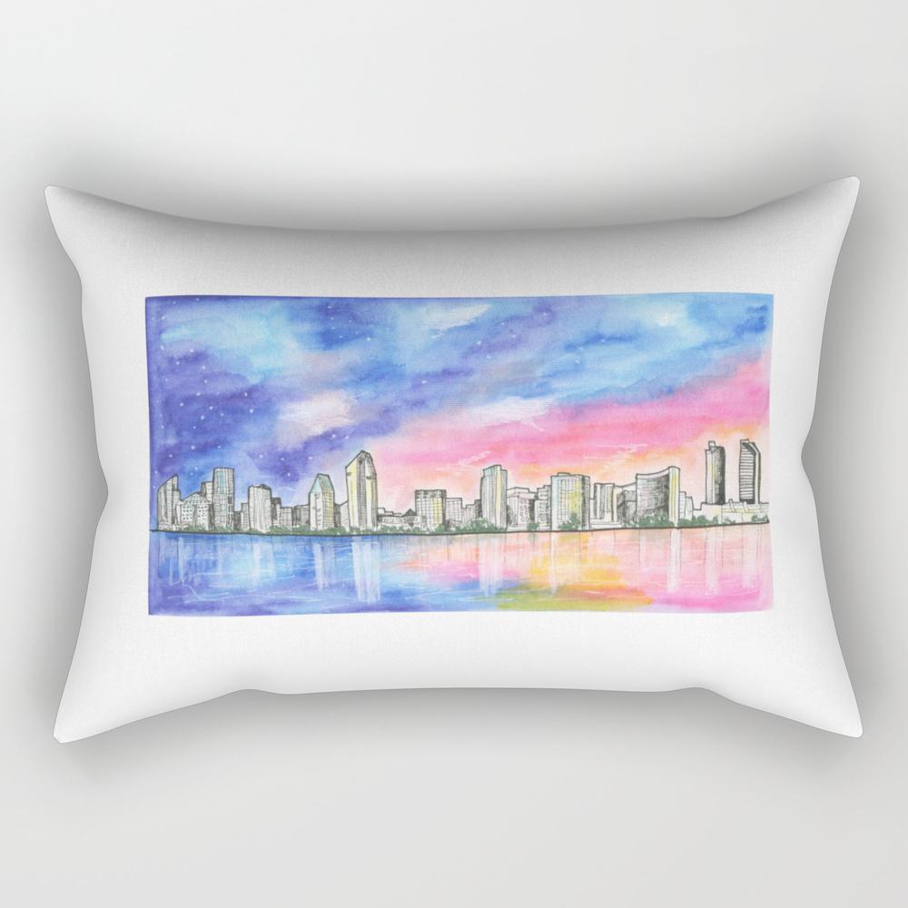San Diego Skyline - San Diego - San Diego, Califor… Rectangular Pillow RPW8556050