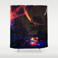 saturn Shower Curtains featuring saturn reflection by haroulita