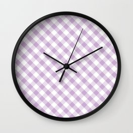 Lavender and White Check Gingham Plaid Wall Clock