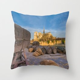 Docks of Notre dame de Paris Throw Pillow