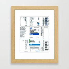 Drug Labels Framed Art Print
