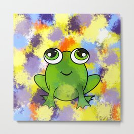Cute frog and fresh paint Metal Print