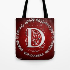 Joshua 24:15 - (Silver on Red) Monogram D Tote Bag
