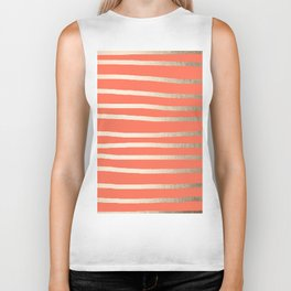Simply Drawn Stripes in White Gold Sands on Deep Coral Biker Tank