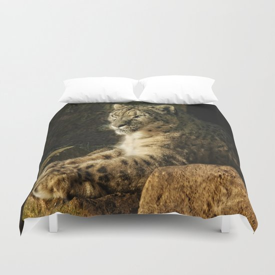 Endangered Snow Leopard Duvet Cover