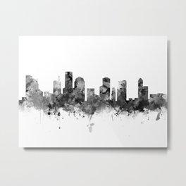 Houston Skyline Black and White Metal Print