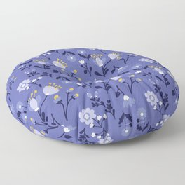 Blue Vintage Flower Pattern Floor Pillow