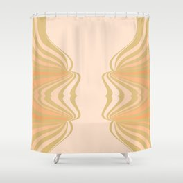 Cream and Olive Green Pattern Shower Curtain