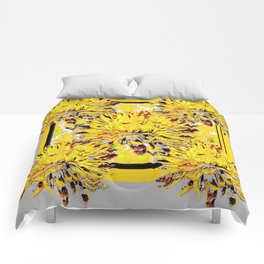 Abstracted Grey-Yellow Chrysanthemums Floral Comforters