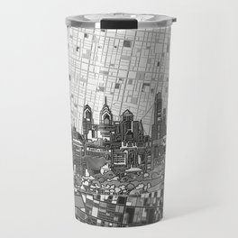 philadelphia city skyline black and white Travel Mug