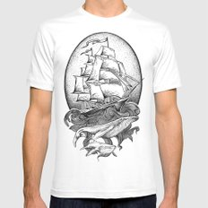 GUIDED BY WHALES White Mens Fitted Tee 2X-LARGE