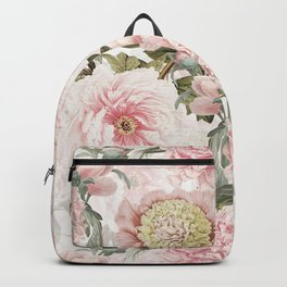 Vintage & Shabby Chic - Antique Pink Peony Flowers Garden Backpack