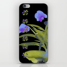 Atom Flowers #34 in purple and green iPhone Skin