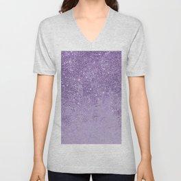 Modern elegant lavender lilac glitter marble Unisex V-Neck