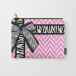 Girly zebra ribbon & bow, pink chevron stripes Carry-All Pouch