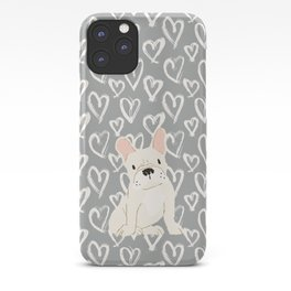 Cream French Bulldog and Hearts iPhone Case