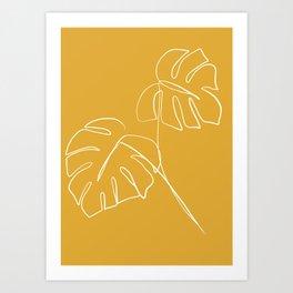 Monstera minimal - yellow Art Print