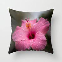 hibiscus Throw Pillows featuring Hibiscus by David Gallo