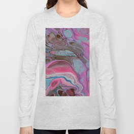 Bright Vibrant Pink Fluid Acrylic Painting Art Long Sleeve T-shirt