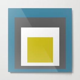 Block Colors - Teal Grey Acid Yellow Metal Print