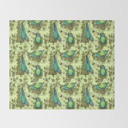 Parrots & Weeds Throw Blanket