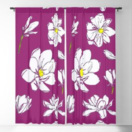 Magnolia Raspberry Blackout Curtain