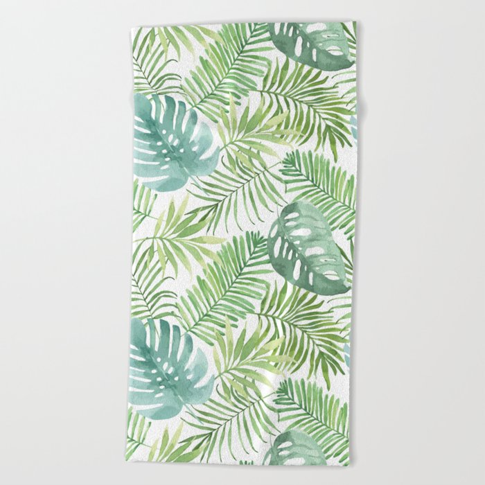 Tropical Branches Pattern 06 Beach Towel