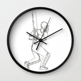 Cricket Batsman Batting Doodle Art Wall Clock