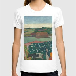 Haystacks in Brittany Oil Painting by Paul Gauguin T-shirt