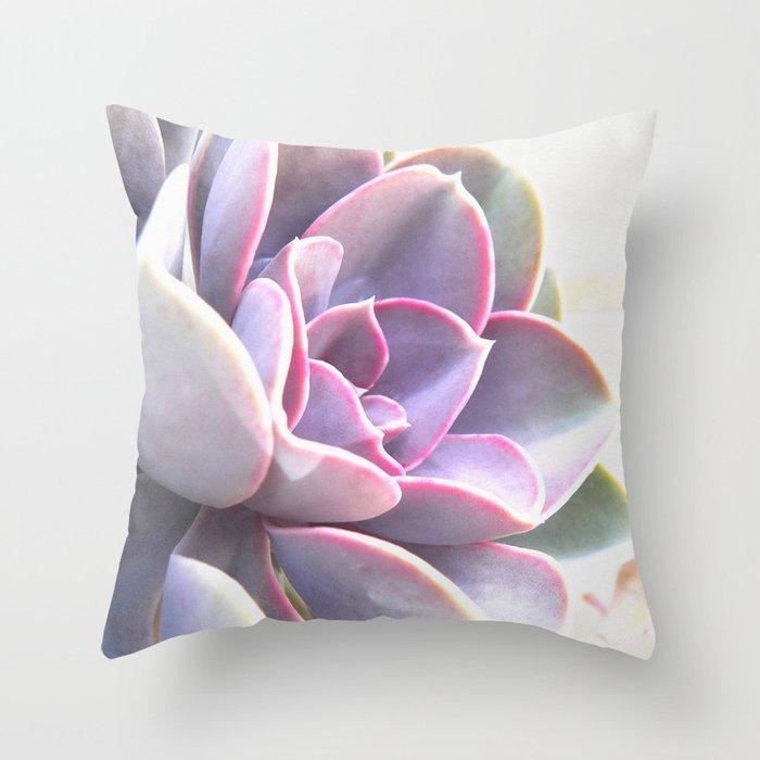 pink succulent plant Throw Pillow