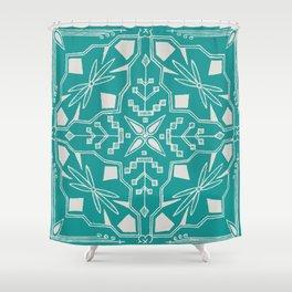 Turquoise Batik Shower Curtain