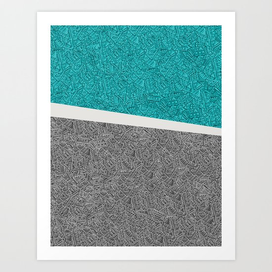 Digital Pen & Ink: Turquoise & Black Doodles Art Print