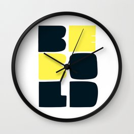 Be Bold in Black and Lemon Yellow Wall Clock