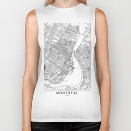 Montreal White Map Biker Tank
