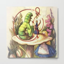 Alice & The Hookah Smoking Caterpillar - Alice In Wonderland Metal Print