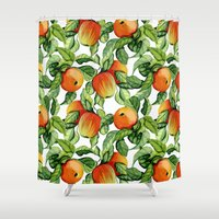 vegetarian Shower Curtains featuring Ripe apples by Julia Badeeva