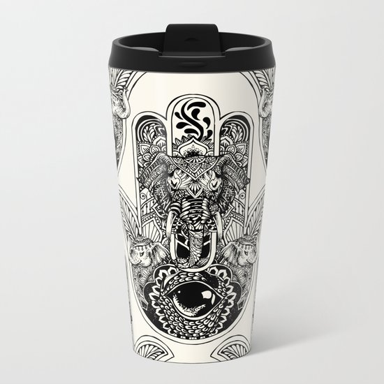Hamsa Hand Elephant Metal Travel Mug