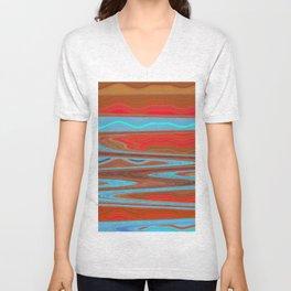 Abstract Retro Lava Water Deep Earth Landscape Unisex V-Neck