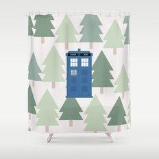 TARDIS lands in the Pacific Northwest Pine Tree Forest - Oregon, Washington, Portland, PDX, Seattle Shower Curtain