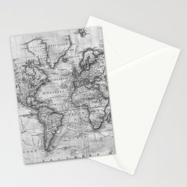Black and White World Map (1801) Stationery Cards
