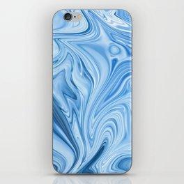 Blue Water Silk Marble iPhone Skin
