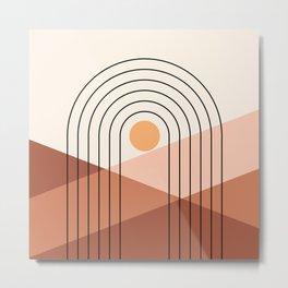 Geometric Lines in Beige and Terracotta 5 (Rainbow Sun Mountain) Metal Print
