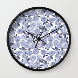 Blue watercolor roses. r2 Wall Clock