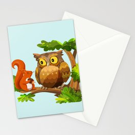 The Owl and The Squirrel Stationery Cards