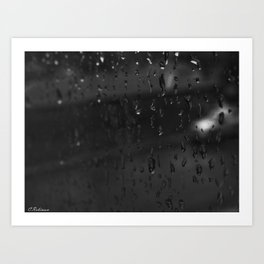 Pawprints and raindrops Art Print