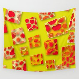 red spotted rectangles Wall Tapestry
